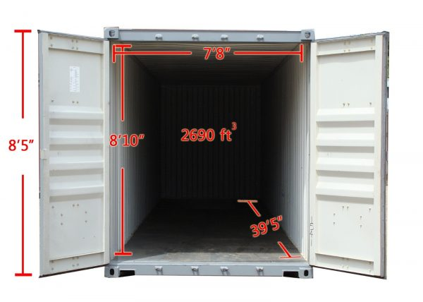 40HC high cube container inside dimensions