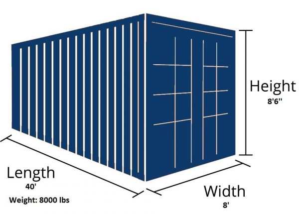 40 foot container outside dimensions